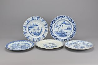 Five 18th Century Chinese Blue and White Porcelain