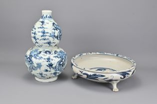 A Chinese Blue and White Porcelain Double Gourd Va