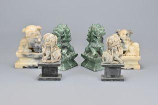 Three Pairs of Vintage Chinese Carved Soapstone Li