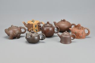 Seven Vintage Chinese Yixing Teapots In Varying Si