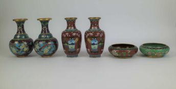 Lot of 4 Chinese cloisonné vases and 2 bowls