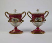 Pair of porcelain Dresden lidded vases