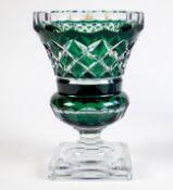 A green Val Saint Lambert vase