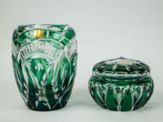 A green Val Saint Lambert crystal vase and bonboniere