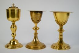 Lot with 3 chalices and 2 patens
