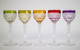 Lot with 5 Val Saint Lambert crystal glasses