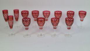 Val Saint Lambert red crystal glasses
