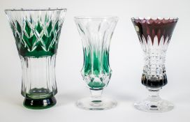 A lot with 3 small Val Saint Lambert crystal vases