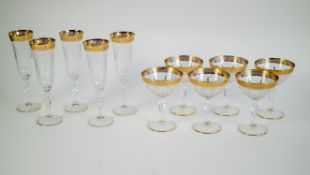 Lot with 5 crystal champagne flutes and 6 coupes.