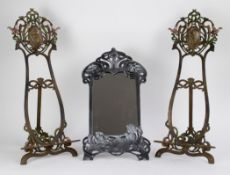 Art Nouveau easels and mirror