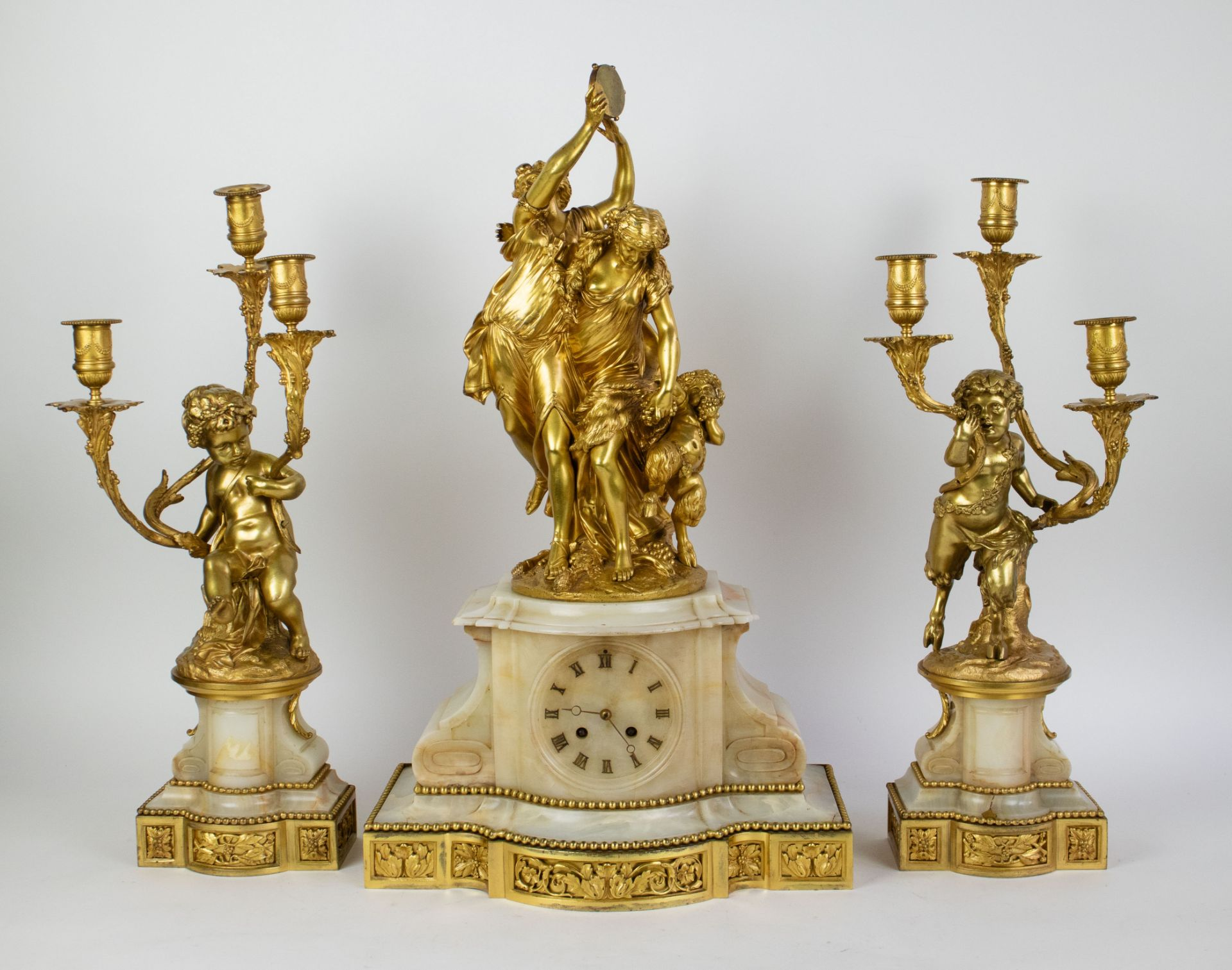 Ormulu clock with candelabra