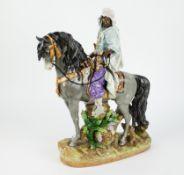 Porcelain group of an Arabic horserider