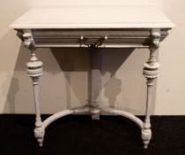 White stained console