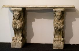 Garden bench in white stone with sitting lions as legs