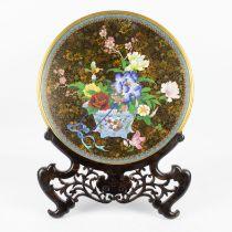 Japanse cloisoné plate with pedestal