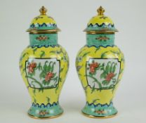 A pair of Limoges vases