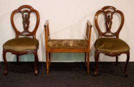2 Louis Philippe chairs in cashew and a small bench