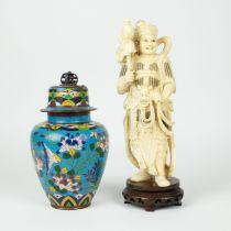 Ivory figure possibly depicting Ehr Lang Shen + cloisonné lidded vase