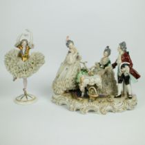 A collection of 2 German Volkstedt Dresden lace porcelain