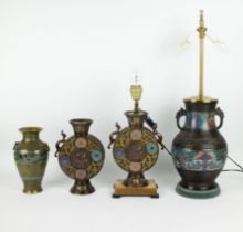 2 Japanese champlevé lamps and 2 vases