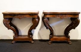 2 wooden Louis Philippe wall consoles
