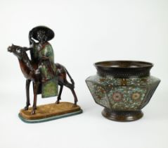 A Japanese champlevé cachepot and horse rider