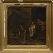 INTERIOR GENRE SCENE WITH FIGURES, AN OIL