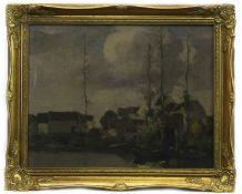 WINTER VILLAGE, AN OIL BY DAVID GAULD