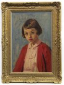 GIRL IN RED, AN OIL BY PHILIP NAVIASKY