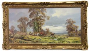 THE HUNT, AN OIL BY DONALD VAUGHAN