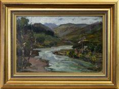 RIVER LANDSCAPE, AN OIL BY JAMES KAY