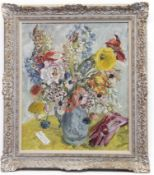 FLORAL STILL LIFE WITH RED GLOVES, AN OIL BY CATHLEEN MANN