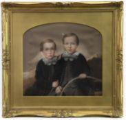 A PASTEL OF TWO CHILDREN BY J BUCHANAN