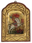 SAINT GEORGE AND THE DRAGON, A RUSSIAN ICON