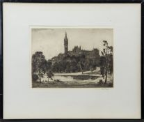 UNIVERSITY OF GLASGOW, AN ETCHING BY ALBERT HENRY FULLWOOD