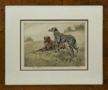 DEERHOUNDS, A LIMITED EDITION COLOUR DRYPOINT BY HENRY WILKINSON