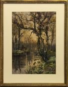 STREAM THROUGH WOODLANDS, A WATERCOLOUR BY L J WILKIE