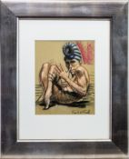 CURLED UP, A PASTEL BY FRANK MCFADDEN