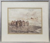 FIGURES ON THE SHORE, A WATERCOLOUR BY FRANK WASLEY