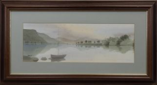 BOAT AT THE LOCH, A SCOTTISH WATERCOLOUR