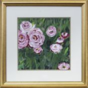 PINK ROSES, AN OIL BY L D JAMIESON