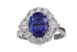 A CERTIFICATED TANZANITE AND DIAMOND RING