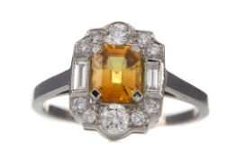 A CERTIFICATED YELLOW SAPPHIRE AND DIAMOND RING