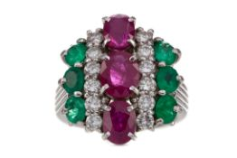 A CERTIFICATED RUBY, DIAMOND AND EMERALD RING