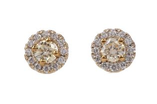 A PAIR OF CERTIFICATED YELLOW DIAMOND STUD EARRINGS