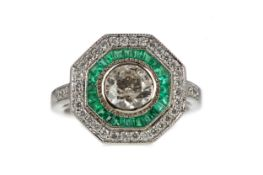 A CERTIFICATED EMERALD AND DIAMOND RING