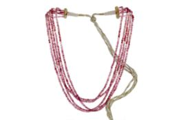 A FIVE ROW PINK SPINEL NECKLACE