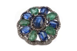 A KYANITE, EMERALD AND DIAMOND RING