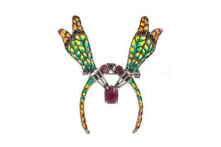 A PLIQUE A JOUR INSECT BROOCH