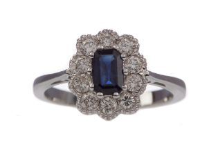 A CERTIFICATED SAPPHIRE AND DIAMOND RING